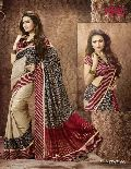 Designer Beige and Black Red Art Silk Party wear saree