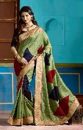 Designer Green with digital print and zari border Art Silk saree
