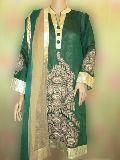 Semi Stitched Green Chanderi Suit
