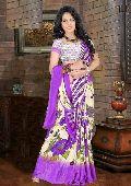 Bright Purple Color Print Work Saree