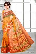 Block Printed Gold Yellow Cotton Saree