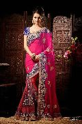 Pink and Blue Wedding Saree