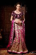 Pink Wedding Saree with Dark Purple Blouse