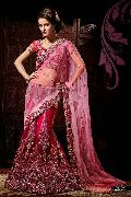 Velvety Pink Wedding Saree with Heavy Embroidery