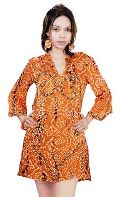 Satin Hand Bandhani Kurti(Code :- K-2063)