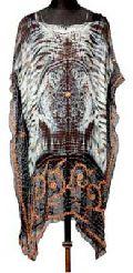 Silk Georgette Embroidered Tie Dye Bandini Kaftan