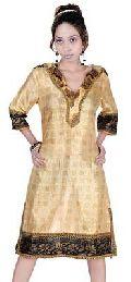Vintage Sari V Neck Kurti(Code :- PZ-012A)