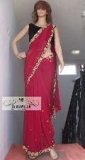 Maroon Handwork Saree with Velvet Blouse