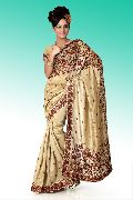Beige Bhagalpuri Pure Silk Saree with Unstitched Blouse