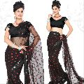 Black Net Saree with Unstitched Blouse