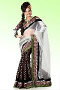 Bollywood Dark Brown Viscose Saree with Unstitched Blouse