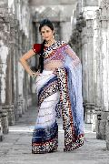 Bollywood Style White and Dark Blue Net Saree with Unstitched Blouse