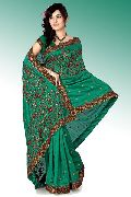 Bottle Green Bhagalpuri Pure Silk Saree with Unstitched Blouse