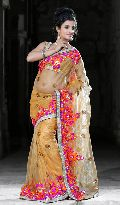 Carrot Orange Net Saree with Unstitched  Blouse
