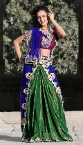 Deep Green Faux Shimmer Georgette Lehenga Style Saree with Unstitched  Blouse