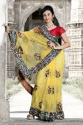 Light Yellow Net Saree with Unstitched Blouse