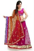 Magenta and Mustard Net Lehenga Style Saree with Unstitched Blouse