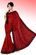 Maroon Bhagalpuri Pure Silk Saree with Unstitched Blouse