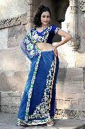 Navy Blue Net Lehenga Style Saree with Unstitched Blouse