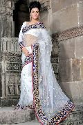White net saree with unstitched blouse