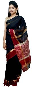 Black & Red Maheshwari Silk & Jute Saree (Design No. S0009)