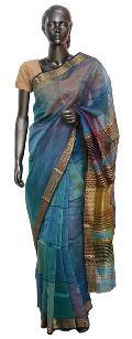 Blue Zari Maheshwari Silk Saree (Design No. S0025)