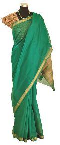 Bright Green, Jute & Zari Maheshwari Silk Saree (Design No. S0016)