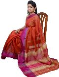 Deep Red & Pink, Jute Maheshwari Silk Saree (Design No. S0021)