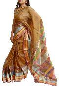 Golden Yellow, Tissue Maheshwari Silk Saree (Design No. S0018)