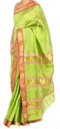 Maheshwari Pure Silk Saree with Jute Stripes(Design No. S0006)