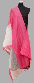 Pink White Organza Maheshwari Silk Dupatta (Design No. D0010)
