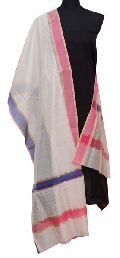 White Maheshwari Silk Dupatta (Design No. D0004)