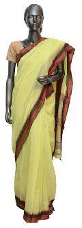 Yellow Resham Border Maheshwari Saree (Design No. S0023)