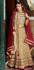 Off White & Red Designer Lehenga Choli